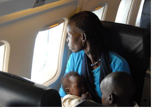 Sudanese women on airplane