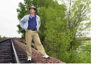 Dean on railroad tracks