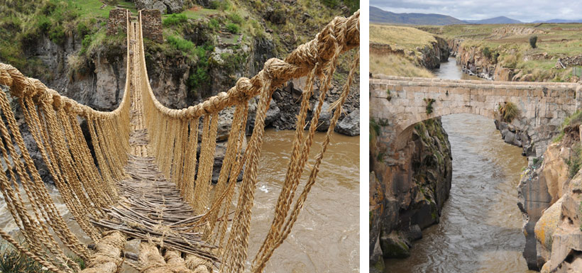 Woven grass and stone Inca bridges
