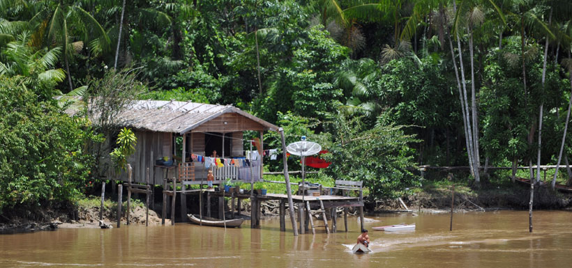 Home along edge of Amazon River
