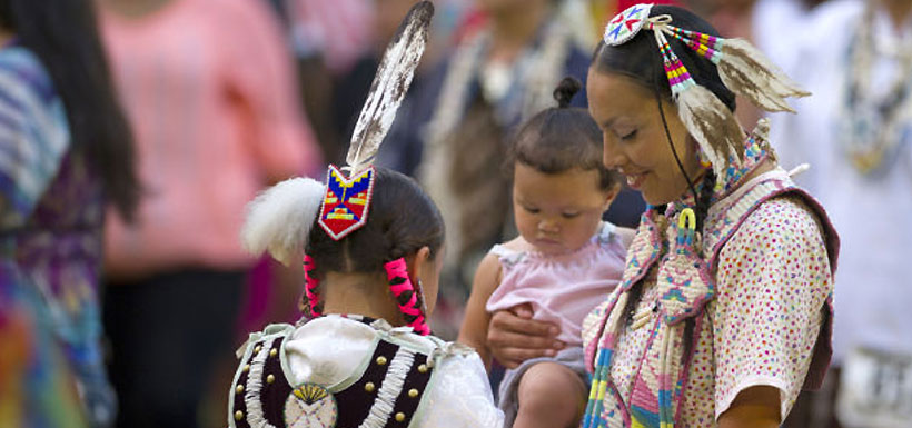 Native American mother with children