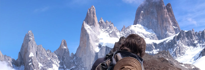 Dean photographing Mount Fitz Roy in Argentina