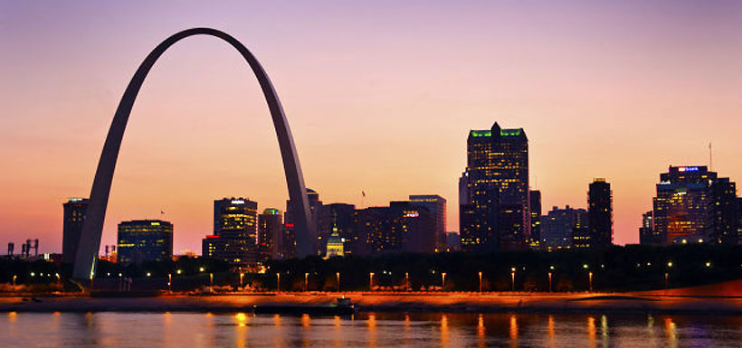 St. Louis arch at twilight